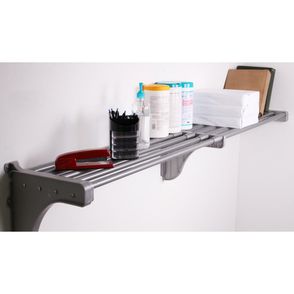 EZ Shelf 40 in. - 74 in. Large Shelf in Silver with 1 End Bracket (for mounting to 1 side wall and back wall)
