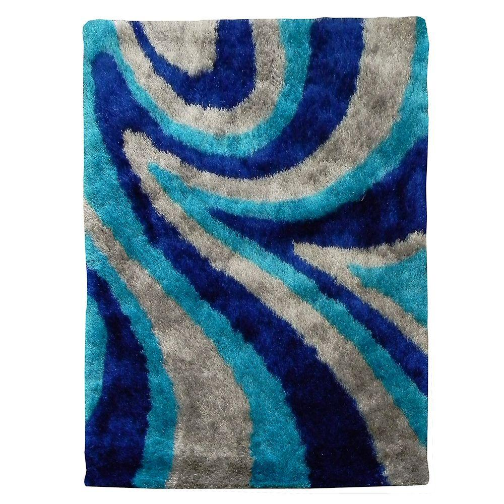 DonnieAnn Flash Shaggy Abstract Wave Design Blue 4 ft. 11 in. x 6 ft. 10 in. Indoor Area Rug