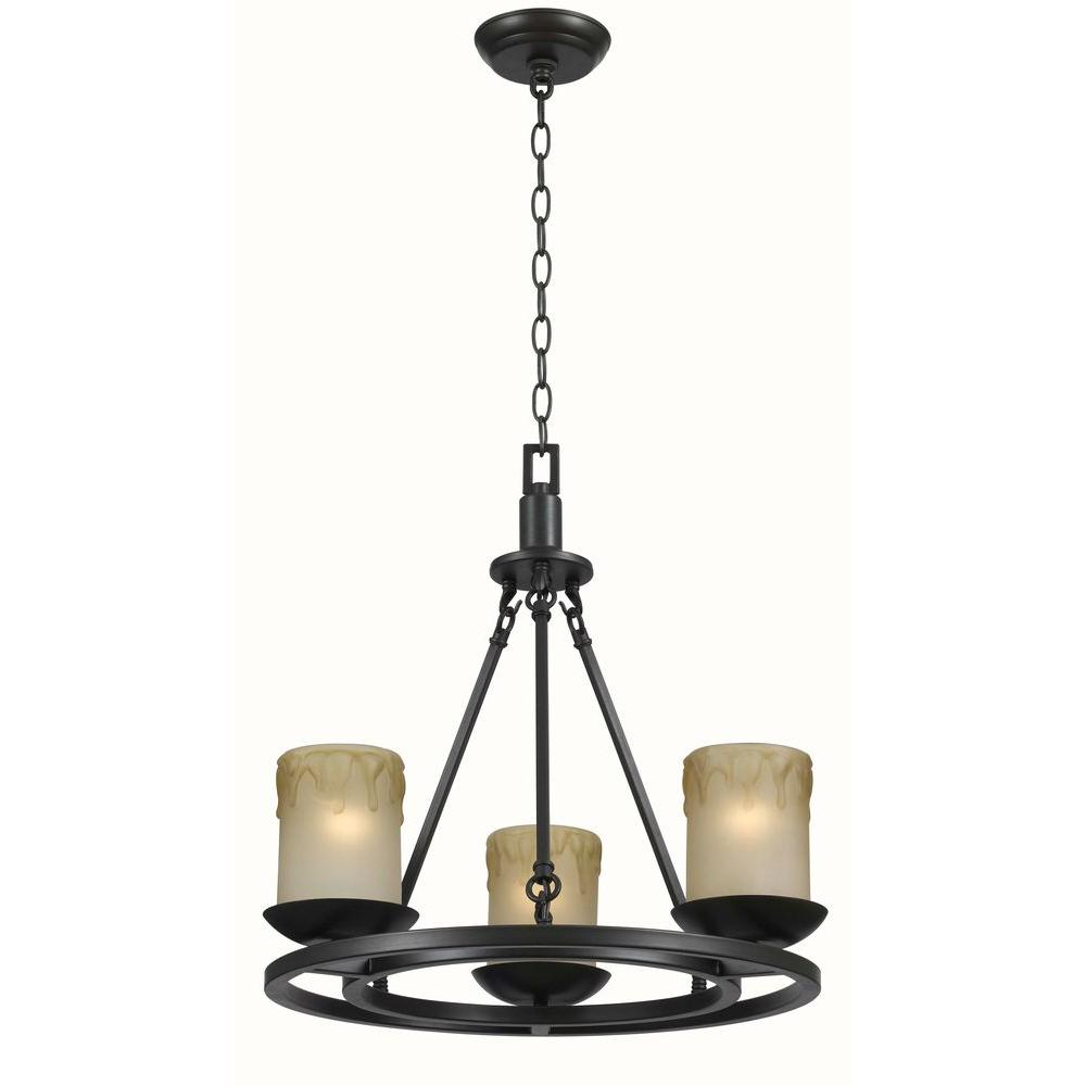 World Imports Colchester 3-Ltights Wagon Wheel Chandelier-DISCONTINUED