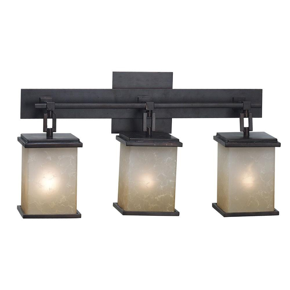 Kenroy Home Plateau 3-Light Oil Rubbed Bronze Vanity Light-03374 - The Home  Depot