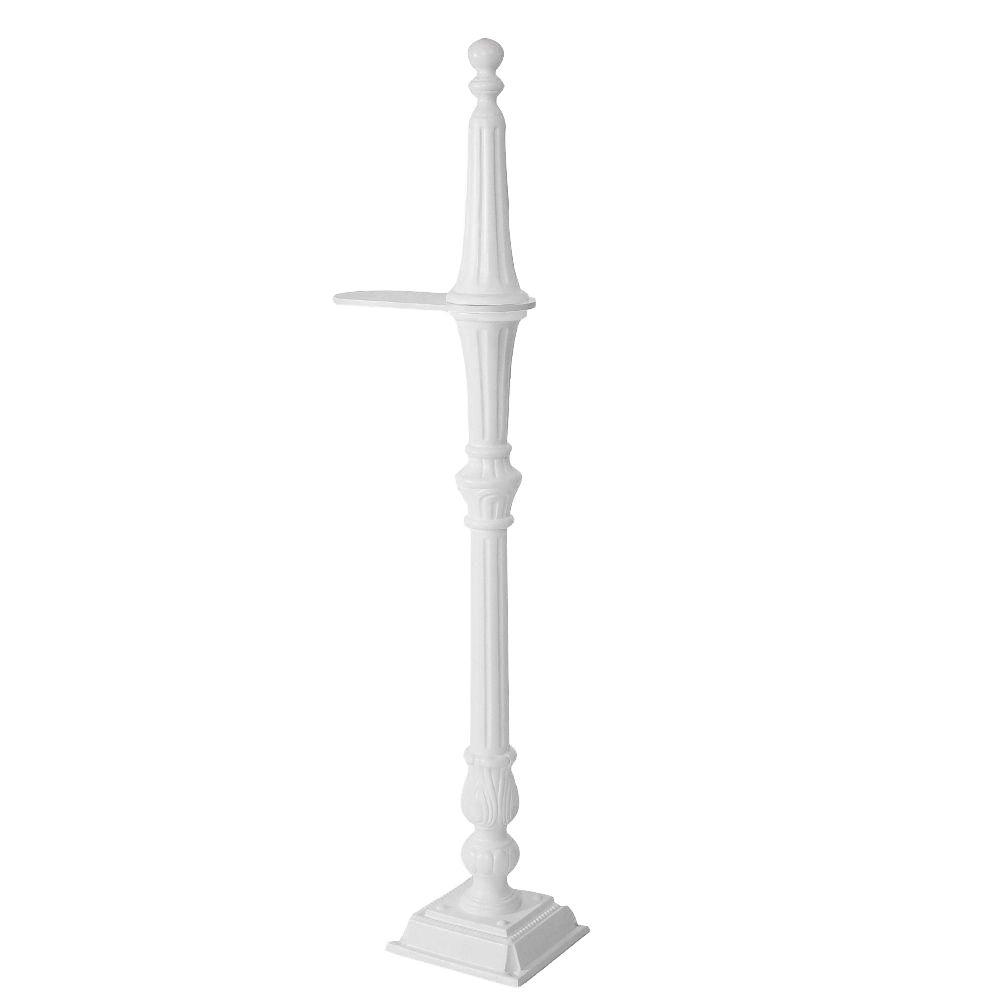 Classic 1-Sided Mailbox Post in White