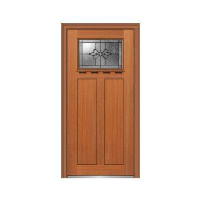 32 in. x 80 in. Dahlia Right-Hand Inswing 1-Lite Decorative Craftsman Stained Fiberglass Fir Prehung Front Door w/ Shelf