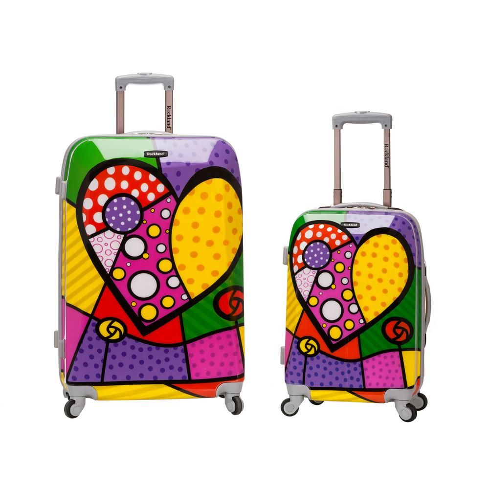 Rockland 2-Piece Polycarbonate/ABS Upright Luggage Set, Heart