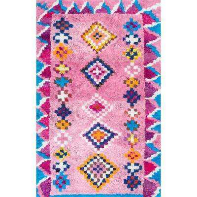 Arica Shaggy Pink 5 ft. x 8 ft. Area Rug
