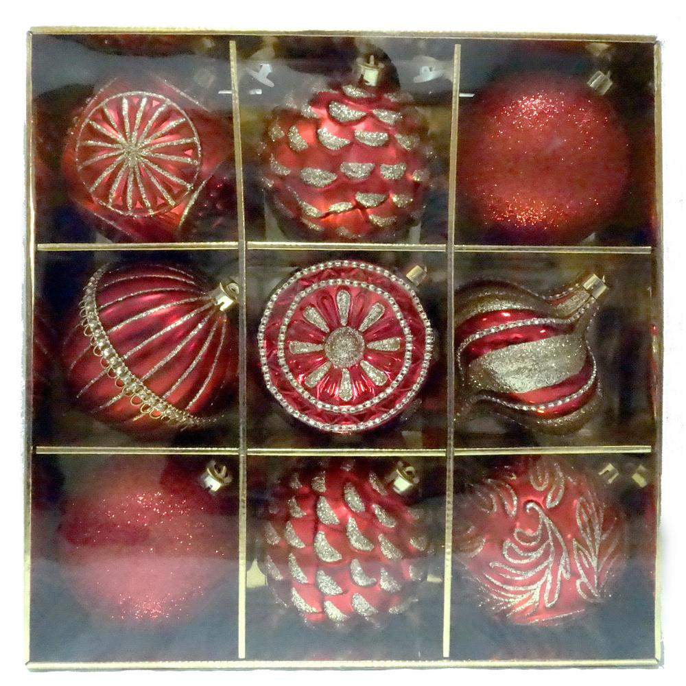 Home accents holiday 130 mm ornament set in red 9 count for Home hardware christmas decorations