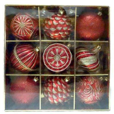 130 mm Ornament Set in Red (9-Count)