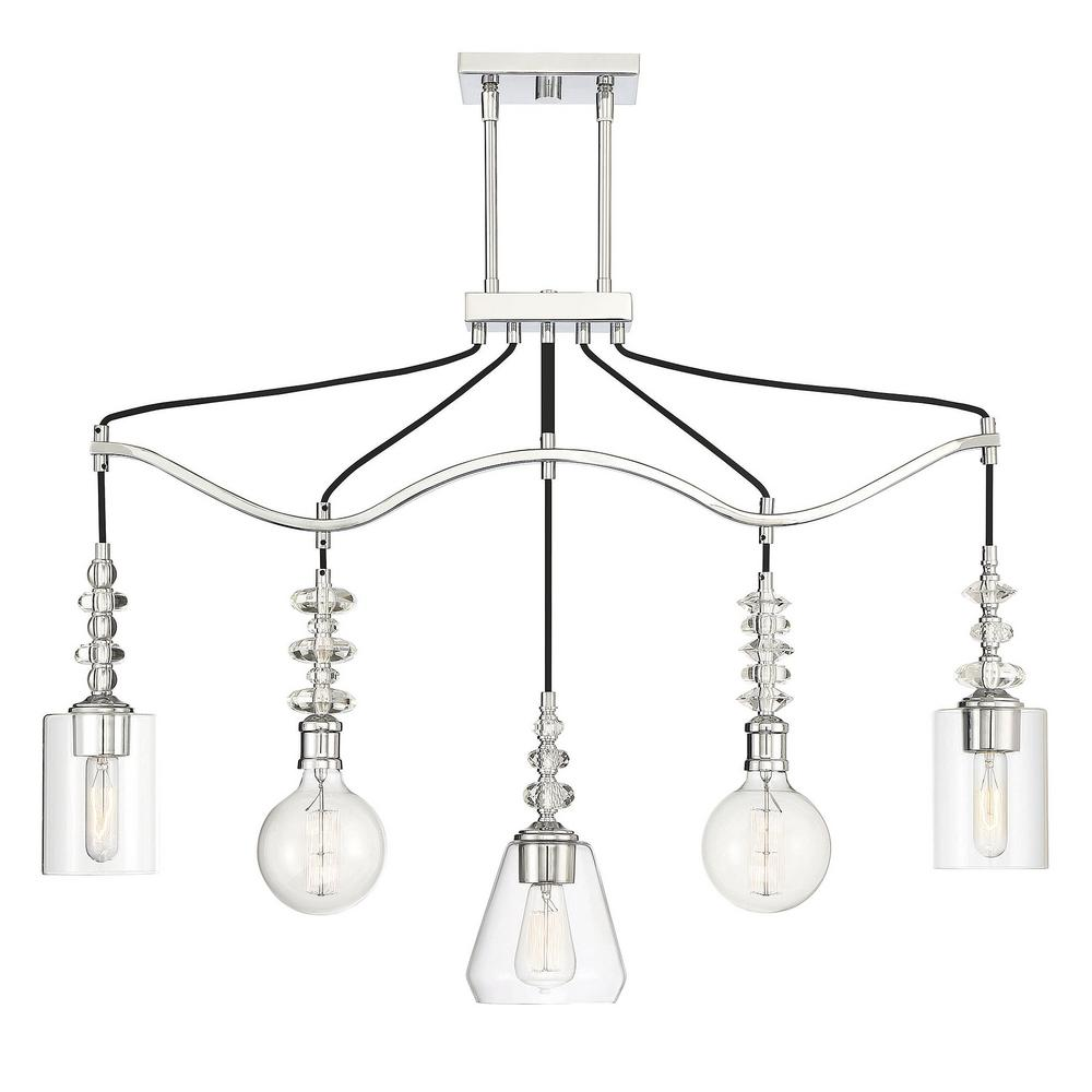 Filament Design 5-Light Polished Chrome Chandelier with Clear Glass
