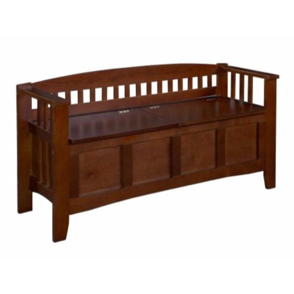 50 in. W Brown Wooden Storage Bench with Split Seat and Slated Low Back Design