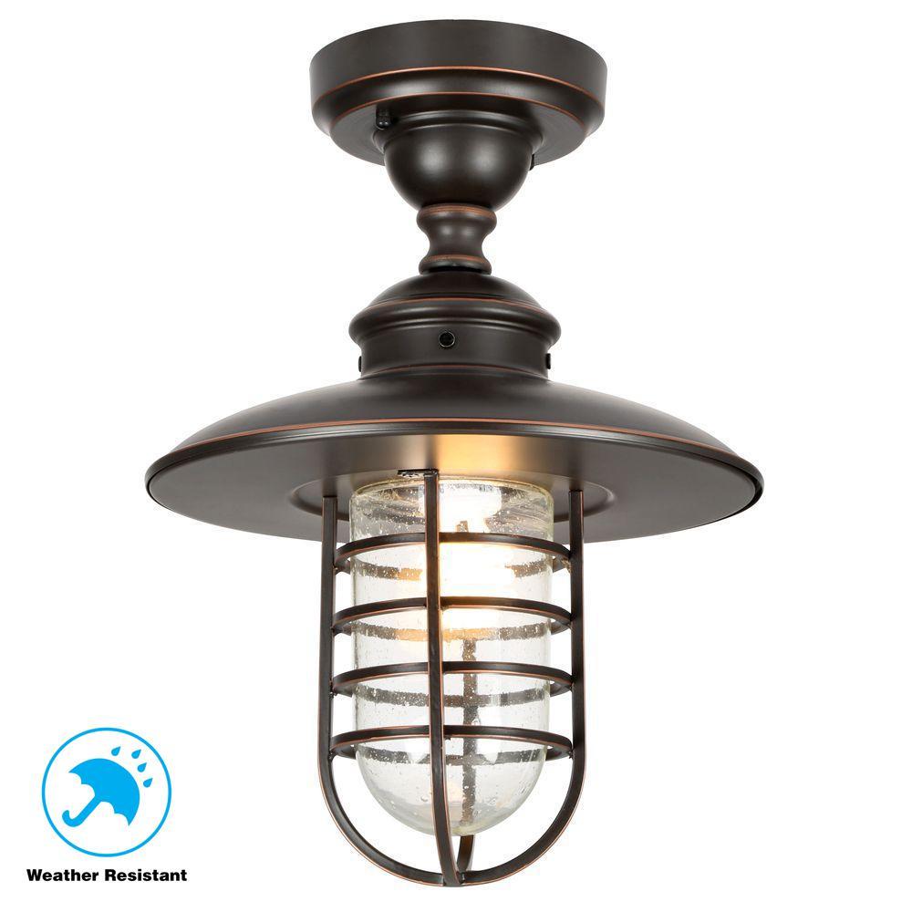 Hampton Bay Dual-Purpose 1-Light Outdoor Hanging Oil-Rubbed Bronze Pendant or Flushmount Lantern