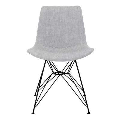Palmetto Grey Fabric Contemporary Dining Chair with Black Metal Legs