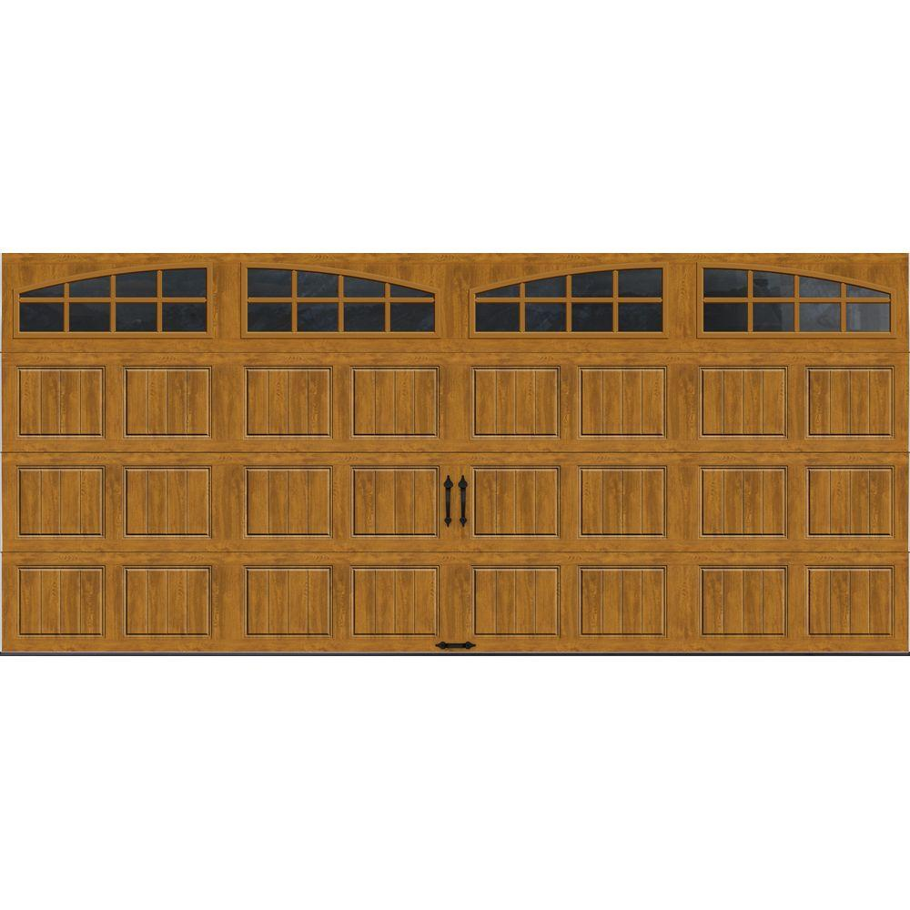Clopay Gallery Collection 16 ft. x 7 ft. 6.5 R-Value Insulated Ultra-Grain Medium Garage Door with Arch Window