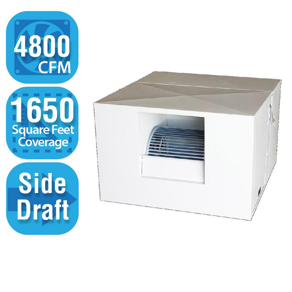4,800 CFM Side-Draft Rigid Roof/Side Evap Cooler (Swamp Cooler) for 18