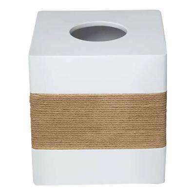 Castaway 6.05 in. Tissue Box Cover in White Resin with Faux Jute Strip