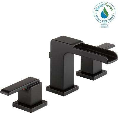 Ara 8 in. Widespread 2-Handle Bathroom Faucet with Channel Spout and Metal Pop-Up in Matte Black
