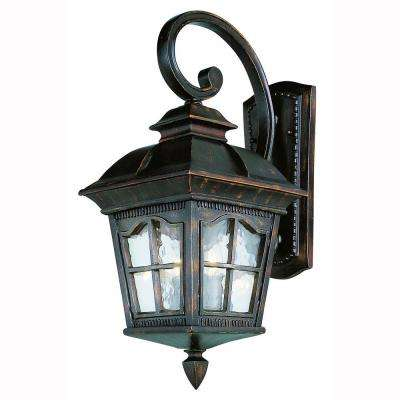 Bostonian 3 Light Outdoor Antique Rust Coach Lantern With Water Glass
