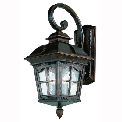 Briarwood 3-Light Antique Rust Outdoor Wall Lantern Sconce with Water Glass