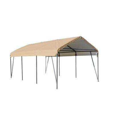 Carport-in-a-Box 12 ft. W x 20 ft. L Sandstone Cover Steel Frame Carport
