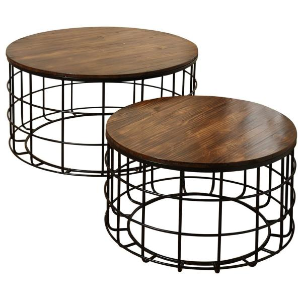 Round Wood Nested Chinese Cherry Top Black Powder Coat Frame Coffee Tables Set 2 Piece
