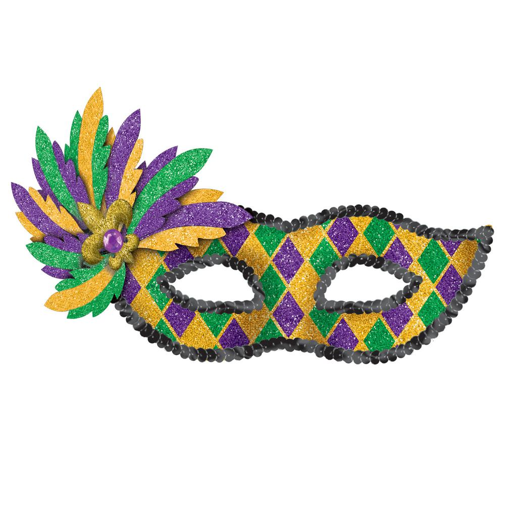 Amscan Green Purple And Gold Glitter Harlequin Mardi Gras