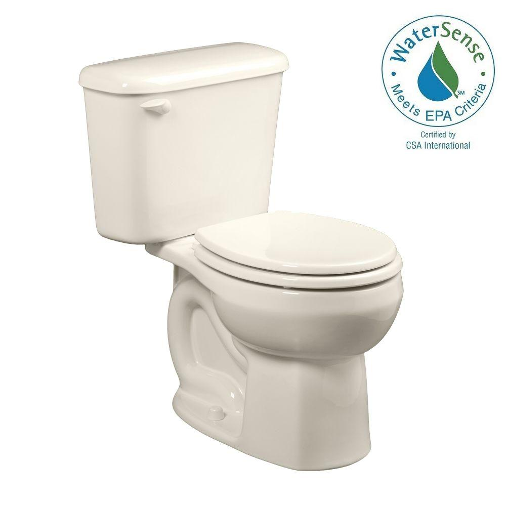 American Standard Colony 10 in. Rough-In 2-piece 1.28 GPF Single Flush Round Toilet in Linen