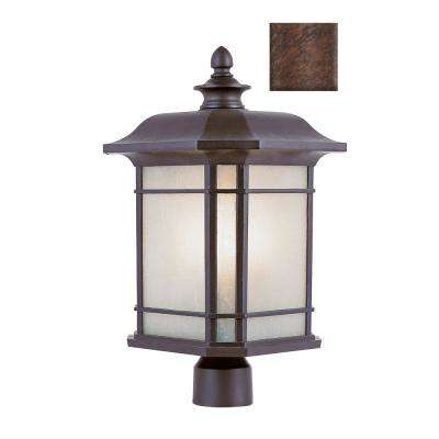 San Miguel 16 in. 1-Light Rust Outdoor Postmount Lantern
