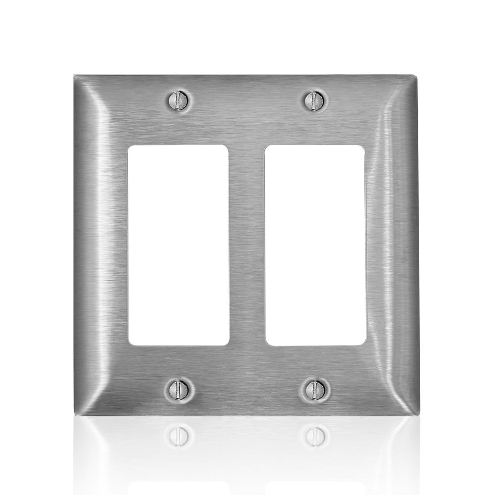 Leviton 2-Gang C-Series 2 Decora/Decora Plus/GFCI Wallplate, Standard Size, Magnetic Stainless Steel