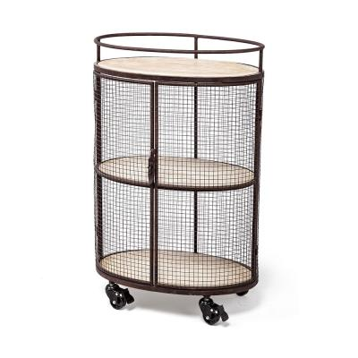 Saluti II Black Metal Frame Cage with 3-Wood Shelves Oval Bar Cart