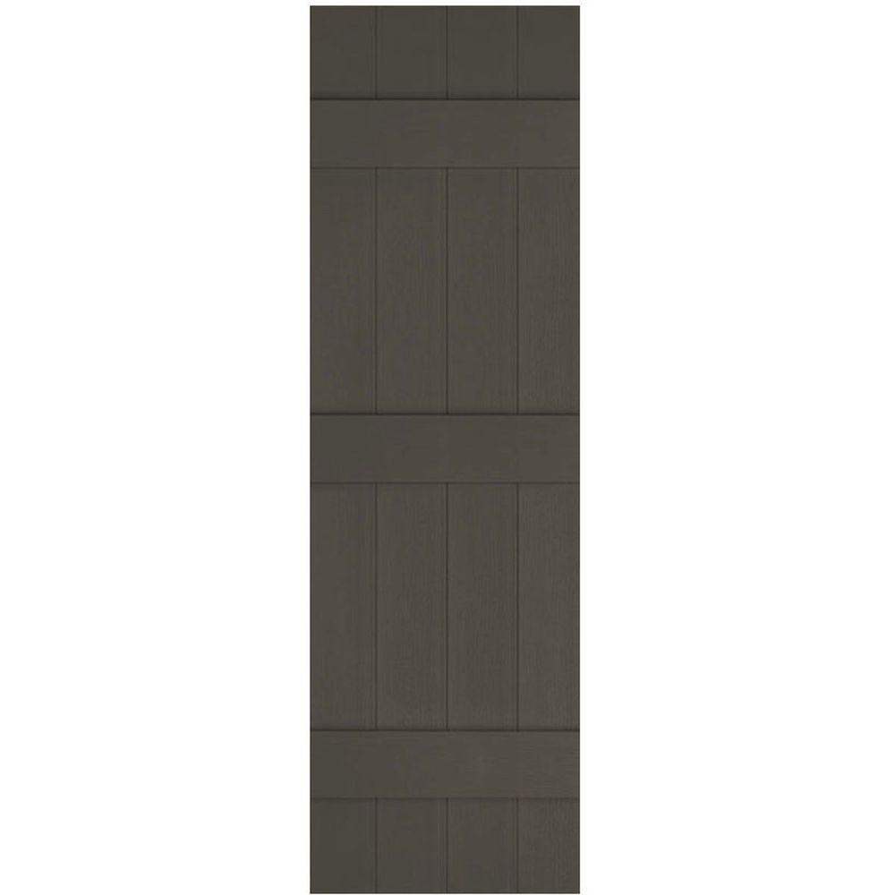 Ekena Millwork 14 in. x 75 in. Lifetime Vinyl Standard Four Board Joined Board and Batten Shutters Pair Musket Brown