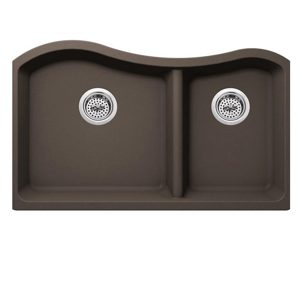 Undermount Quartz 32-1/2 in. 60/40 Double Kitchen Sink in Mocha Brown