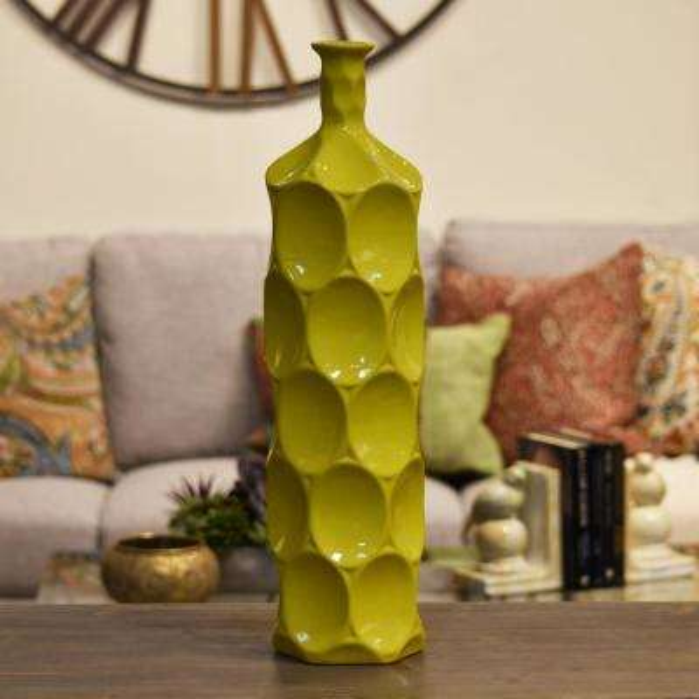 Yellow Gloss Finish Ceramic Decorative Vase