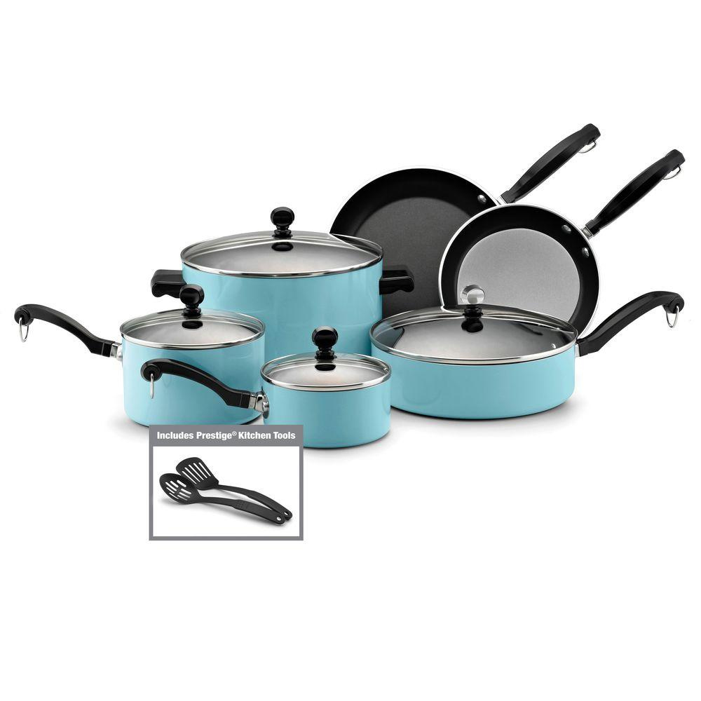 Farberware Classic 12-Piece Nonstick Cookware Set in Turquoise-DISCONTINUED