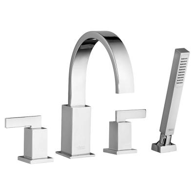Times Square 2-Handle Deck-Mount Roman Tub Faucet with Hand Shower for Flash Rough-in Valves in Polished Chrome