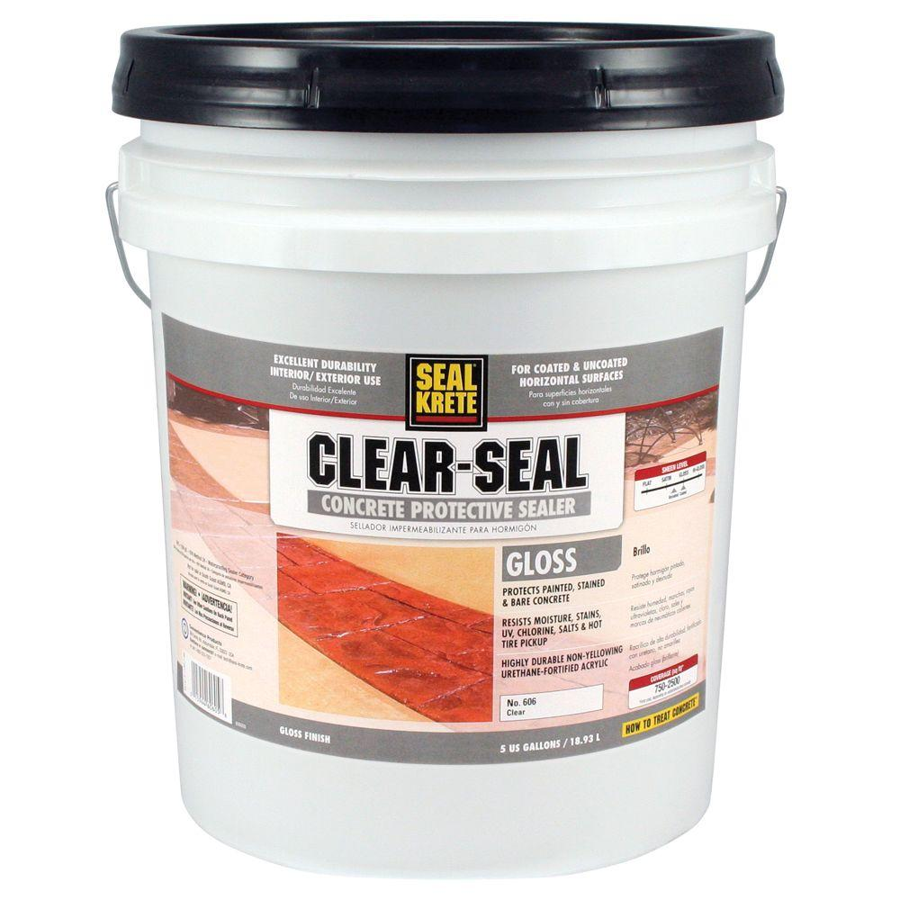 85742cf42a44 Seal-Krete 5 gal. Gloss Clear Seal Concrete Protective Sealer-606005 ...