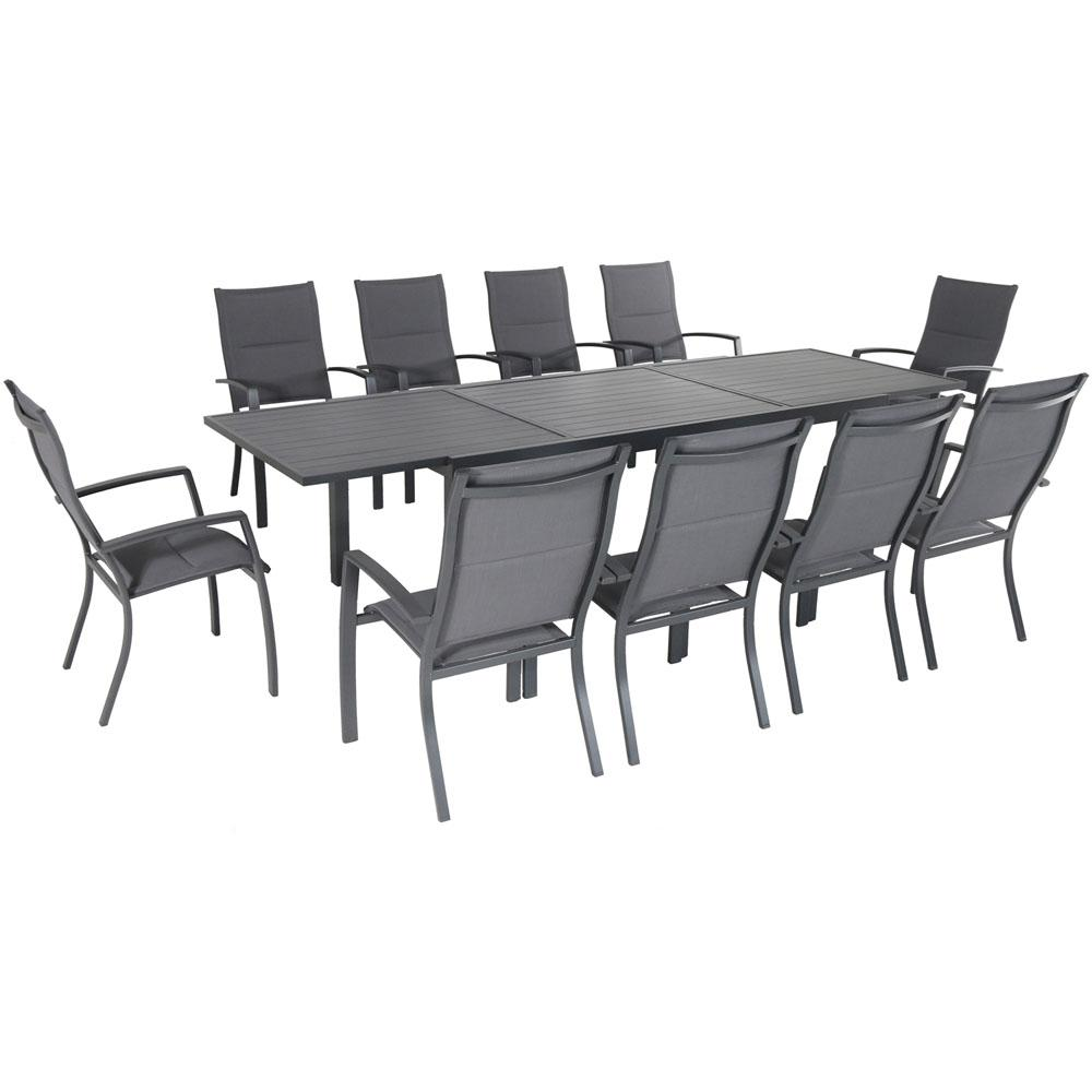 Hanover Naples 11 Piece Aluminum Outdoor Dining Set With