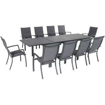Naples 11-Piece Aluminum Outdoor Dining Set with 10 Sling Chairs and a 40 in. x 118 in. Expandable Dining Table