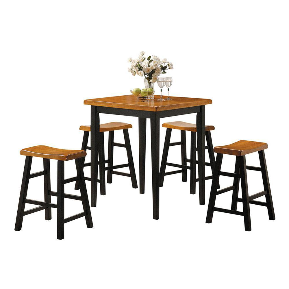 ACME Furniture Gaucho 5-Piece Oak and Black Bar Table Set