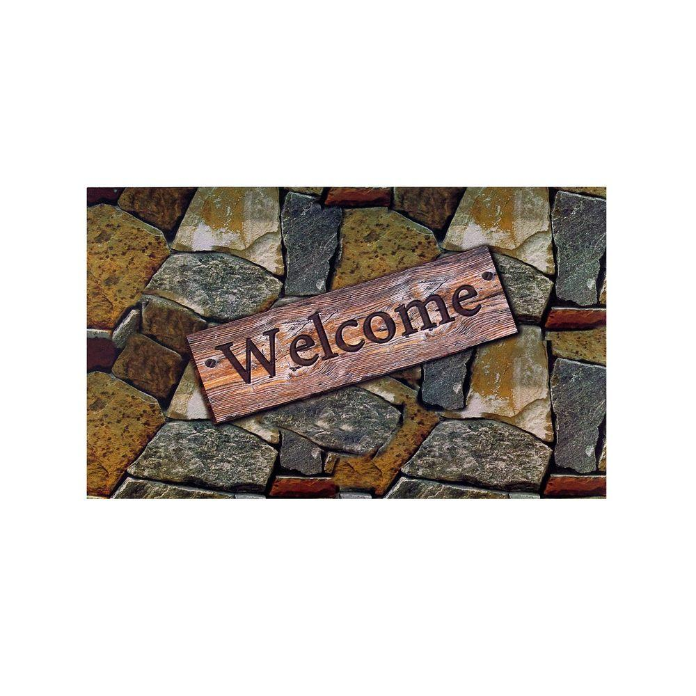Welcome Quarry Stones 18 In X 30 Rubber Entrance Mat