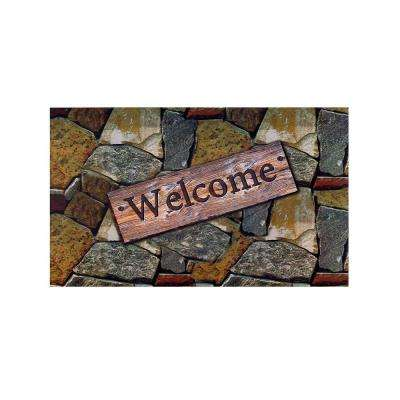 Welcome Quarry Stones 18 in. x 30 in. Rubber Entrance Mat
