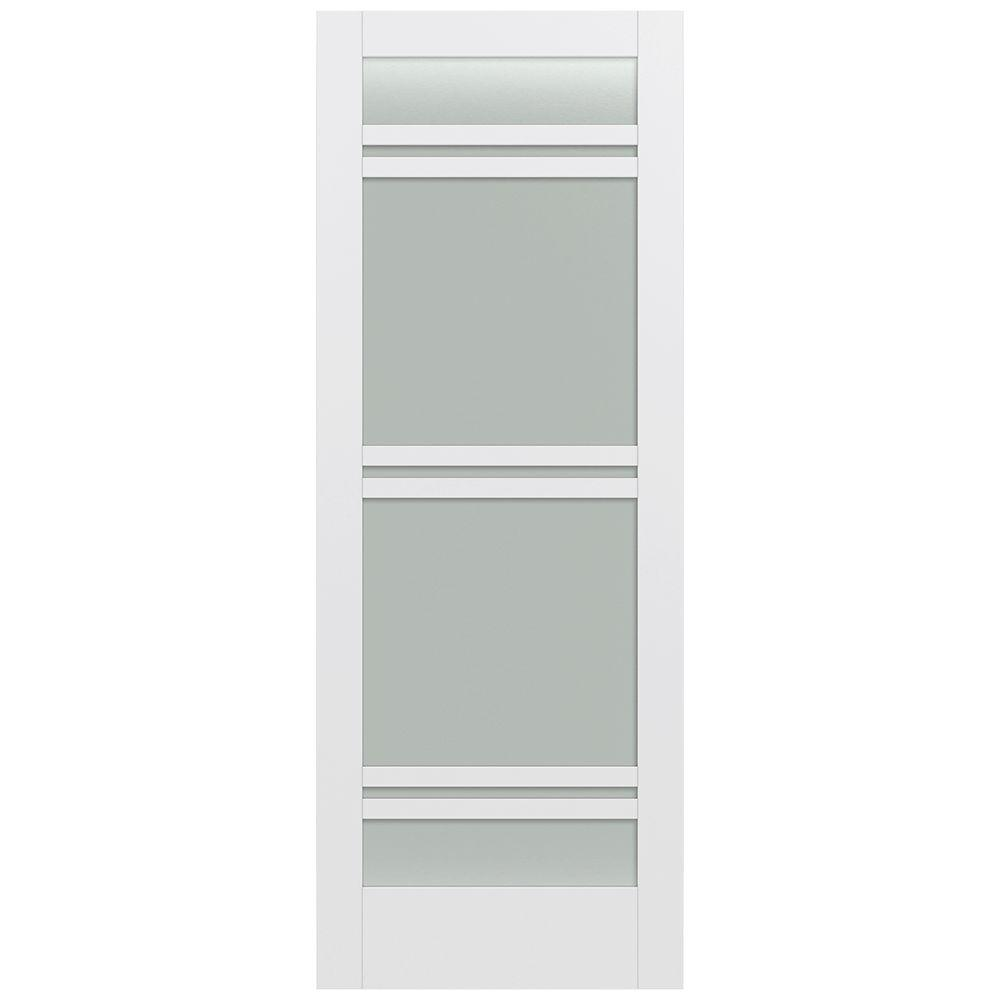 Jeld-Wen 36 in. x 96 in. Moda Primed PMT1071 Solid Core Wood Interior Door Slab w/Translucent Glass