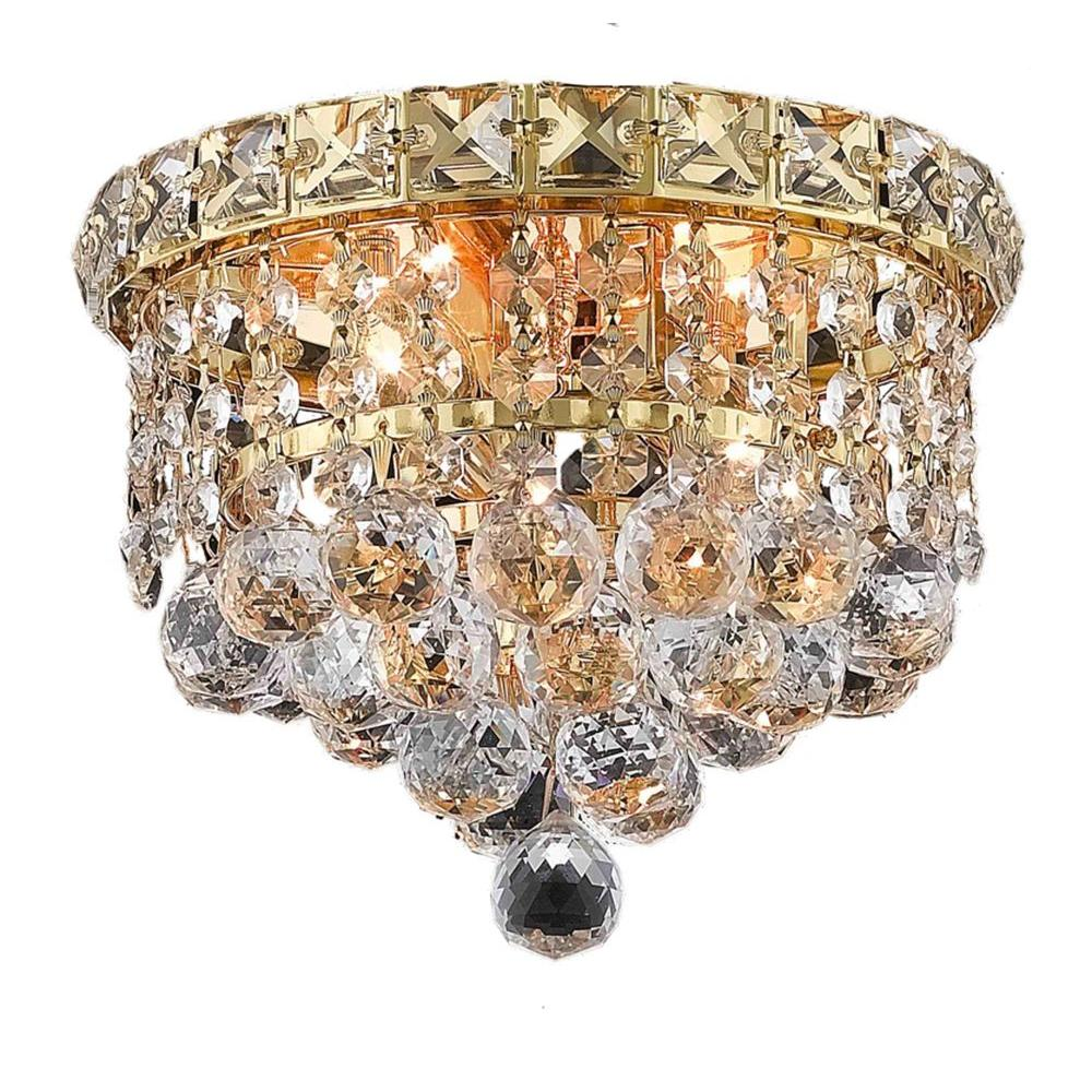 Elegant lighting flushmount lights lighting the home depot 2 light gold flushmount with clear crystal arubaitofo Choice Image