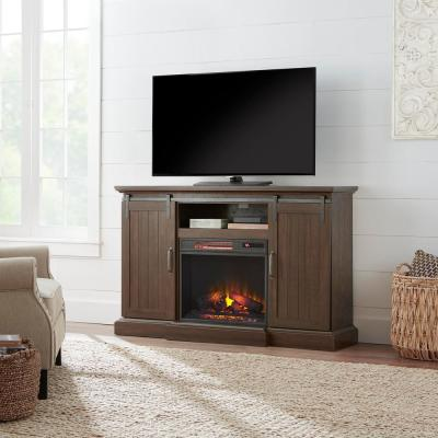 Chastain 56 in. Freestanding Media Console Electric Fireplace TV Stand with Sliding Barn Door in Rustic Walnut