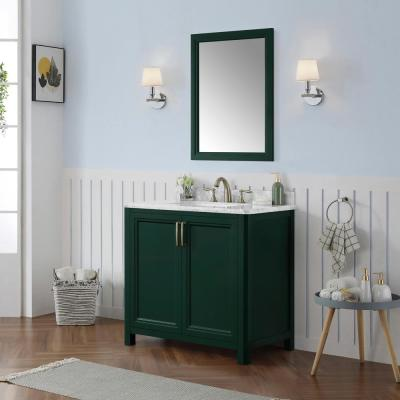 Sandon 36 in. W x 22 in. D Bath Vanity in Emerald Green with Marble Vanity Top in Carrara White with White Basin
