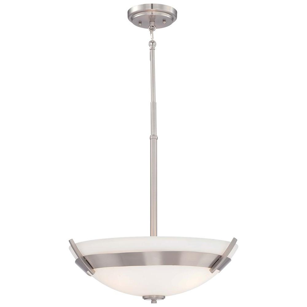 Cluster minka lavery pendant lights lighting the home depot hudson bay 3 light brushed nickel pendant aloadofball Gallery