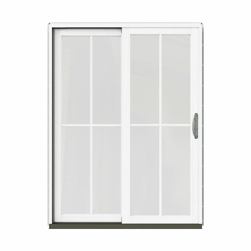 Bon W 2500 Contemporary Bronze Clad Wood Left Hand 4 Lite Sliding Patio Door  W/White Paint Interior