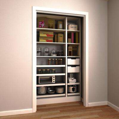 45 in. W x 15 in. D x 84 in. H Melamine Pantry Organizer Kit with Slide-Out Shelves in White