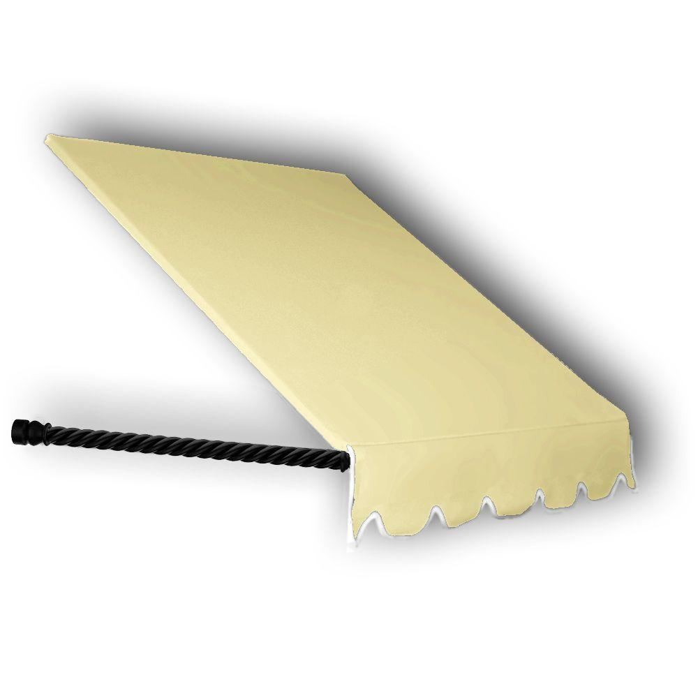 AWNTECH 8 ft. Santa Fe Twisted Rope Arm Window Awning (24 in. H x 12 in. D) in Light Yellow