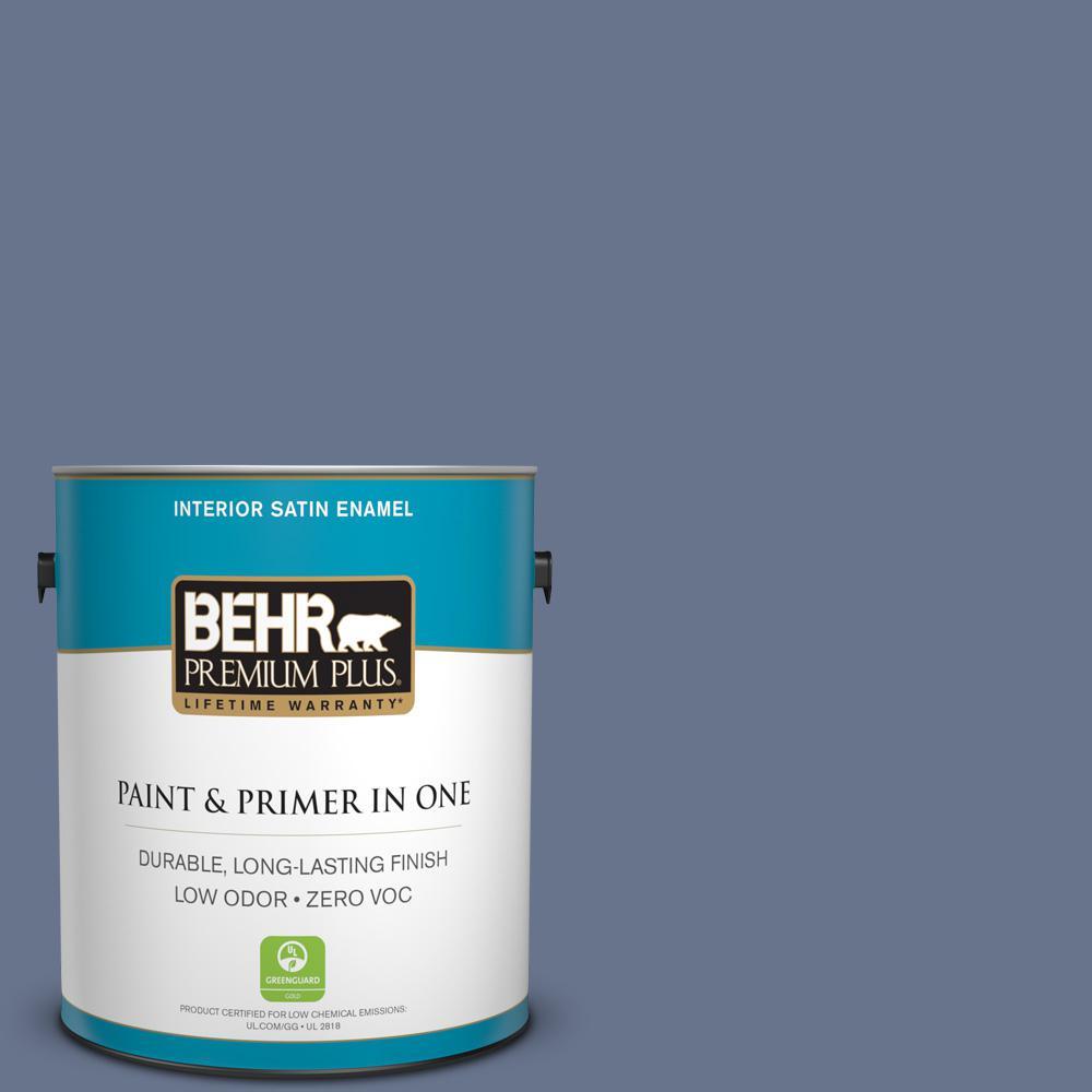 1 gal. #PPU16-17 Blue Aura Zero VOC Satin Enamel Interior Paint