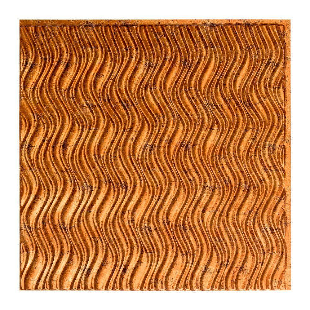 Fasade Current Vertical - 2 ft. x 2 ft. Vinyl Glue-Up Ceiling Tile in Muted Gold