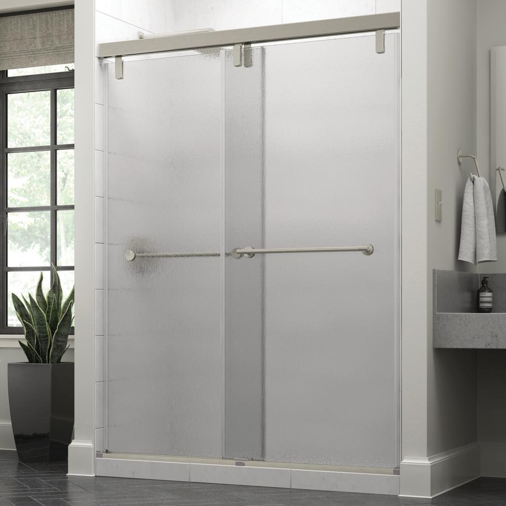 Delta Lyndall 60 x 71-1/2 in. Frameless Mod Soft-Close Sliding Shower Door in Nickel with 3/8 in. (10mm) Rain Glass