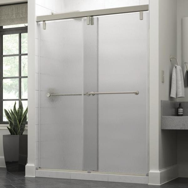 Lyndall 60 x 71-1/2 in. Frameless Mod Soft-Close Sliding Shower Door in Nickel with 3/8 in. (10mm) Rain Glass